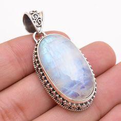 Natural Handmade Rainbow Moonstone Gemstone 925 Sterling Silver Pendant Jewelry #PI #Pendant