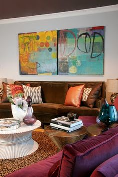 love the mix of colors in this room and the art