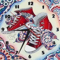 """Купить Часы """"Кеды"""" - белый, кеды, часы настенные, часы молодежные, подарок девушке"""