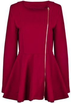 Red Long Sleeve Zipper Ruffle Woolen Coat