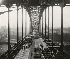 From the Dorman Long collection, documenting the building of The George V or Tyne Bridge between 1925 and a great example of industrial photography. Old Pictures, Old Photos, Gateshead Millennium Bridge, Newcastle Gateshead, Bridge Construction, North East England, Middlesbrough, Industrial Photography, Best Cities