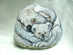 Koala Art- Original Hand Painted Stones-  Rock Art- by Shelli Bowler -Free shipping in U.S. on this item via Etsy