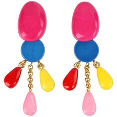 """Dominique Denaive S/s 2016 """"hermine"""" Multi-color Resin Clip On Dangle... ($344) ❤ liked on Polyvore featuring jewelry, earrings, dangle earrings, pink, resin earrings, resin jewelry, long dangle earrings, tri color earrings and coin jewelry"""
