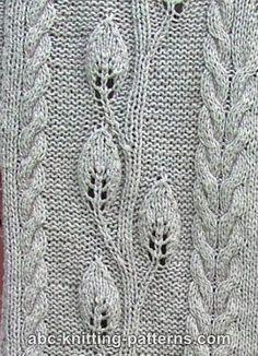 ABC Knitting Patterns - close up of Leaves Jacket.