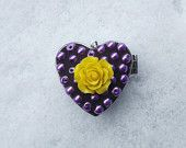 Mosaic Purple and Yellow Heart Pill Box, Beaded Heart Box, Heart Jewelry Box, Yellow Rose Pill Box