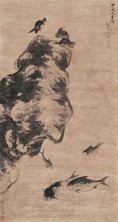 Zhu Da: Fish and Birds   Chinese Painting   China Online Museum