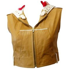 Preowned 2000s Christian Dior Leather Cropped Sleeveless Hoodie ($725) ❤ liked on Polyvore featuring tops, hoodies, brown, vests, brown zip up hoodie, crop tops, sleeveless hoodies, brown leather vest and hooded vests
