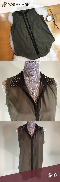 Rock & Republic Embellished Top! Sz L Rock & Republic Embellished Top! •GUC •Tiny discoloration by buttons (see pic 5) •Olive green shade Rock & Republic Tops Blouses