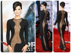 Jaimie Alexander shocked onlookers when she arrived in this full length sheer cutout gown at the Hollywood premiere of Thor.