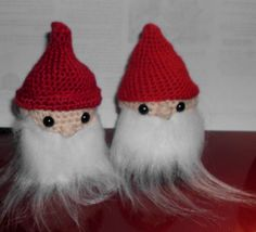 """Handmade Crocheted Amigurumi Fuzzy Bearded Gnome 3 1/2"""" Tall by The Knitting Gnome.. Cute Little Fellow by TheKnittingGnomeVT on Etsy"""