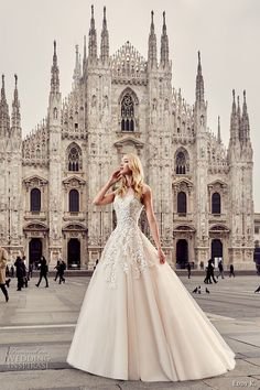 eddy k milano bridal 2017 cap sleeves illusion round neck heavily embellished bodice romantic a  line ball gown wedding dress (md231)…
