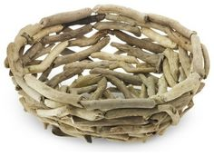 Real Driftwood Bowl - contemporary - accessories and decor - by Williams-Sonoma Driftwood Wreath, Driftwood Lamp, Driftwood Projects, Driftwood Ideas, Twig Wreath, Beach Crafts, Diy And Crafts, Wood Creations, Contemporary Home Decor