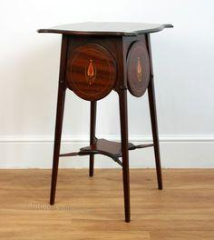 Art Nouveau Inlaid Mahogany Side Table - Antiques Atlas