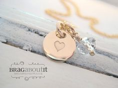 Hand Stamped 14K Gold Filled Teeny Tiny Heart Necklace by Brag About It    ♥:{ Listing Includes }:♥ One (1) 14K Gold Filled Chain  One (1) 14K Gold
