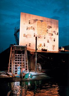 Nabucco, designed by Stefanos Lazaridis, was staged on Lake Constance as part of the Bregenz festival in 1993 in Austria, directed by David Pountney who said 'the opportunity to work on this scale somehow triggered Stefan's most sensitive dramaturgical instincts'