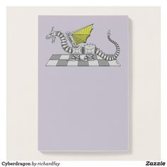Cyberdragon Post-it Notes.  50% Off with code ZPERFECTPAIR.  Offer is valid through October 2, 2017, 11:59 PM PT.  #Zazzle #post_it_notes #dragon #cyberdragon #robot_dragon #robotic_dragon #sci_fi_dragon