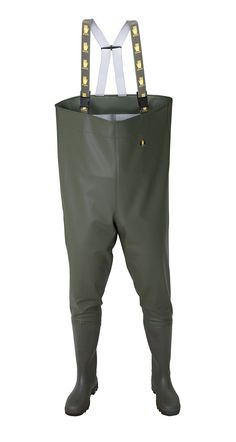 """WATERPROOF CHEST WADERS """"STANDARD"""" Model: SB01 The chest waders have been produced with high quality PVC boots welded in. The model has elasticated braces. Chest waders have been made on waterproof strong fabric Plavitex Heavy Duty. The product has been designed to be used especially by professionnal fishermen and for leisure fishing activities. It's a good protection against water. High frequency welding makes seams stronger."""