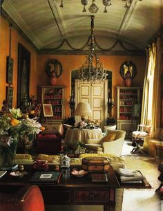 the yellow drawing room in the offices of Colefax & Fowler on 22 Avery Row in Mayfair, London, designed by Nancy Lancaster and John Fowler back in the 1950s. It is probably the most famous yellow room in the history of interior design, with a rich buttercup yellow, or 'buttah yellah' as Nancy referred to it.