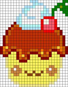 Chibi Cupcake Perler Bead Pattern / Bead Sprite