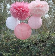 Pretty in Lace  3 Poms/3 Decorated paper lanterns door 1PomPomGirl, $28.99