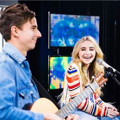 2017 Sabrina Carpenter, with Caleb Nelson on acoustic guitar, performing a Live Session on Rockbjörnen in Stockholm, Sweden