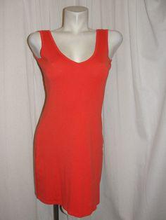 Victoria's Secret BRA TOPS Orange V-neck & Back Sleeveless Tank Dress Size…
