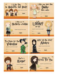 Harry Potter Valentines with Envelopes AND Teacher Valentine - Harry Potter Valentine Cards w/ Envel Harry Potter Fiesta, Harry Potter Diy, Teacher Valentine, Valentines For Kids, Valentine Ideas, Harry Potter Valentines Cards, Valentine Cards, Imprimibles Harry Potter, Classe Harry Potter