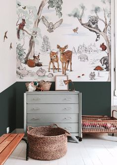 Baby Bedroom, Baby Room Decor, Nursery Room, Girl Room, Kids Bedroom, Paredes Aqua, Woodland Nursery Decor, My New Room, Magical Forest