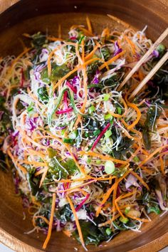 vegan rice noodle salad with sesame dressing mixed