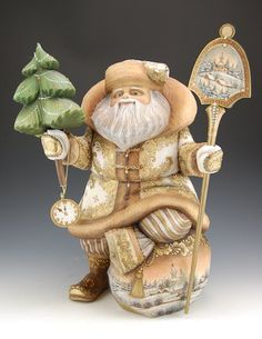 Time For Christmas - White and Gold by Tabolina...Russian Santa hand carved from linden wood