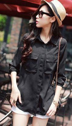 Korean loose double pocket fold sleeve chiffon shirt