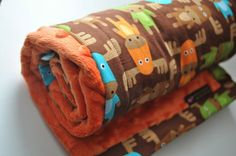 Gender Neutral Moose Baby Minky Blanket Snuggle by dezignzbyliz, $34.99
