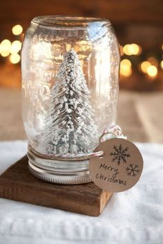 Who needs store-bought snow globes when you can craft your own?!  37 Magical Ways to Use Mason Jars This Christmas. Who needs store-bought snow globes when you can craft your own Anthropologie-inspired ones?!