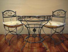 Metal Garden Furniture, Iron Furniture, Outdoor Furniture, Bed Frame Design, Metal Bending, Outdoor Tables, Outdoor Decor, Rustic Chair, Iron Art