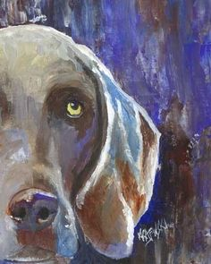 Weimaraner Dog Art Signed Print by Ron Krajewski by dogartstudio