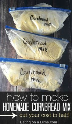 Homemade Cornbread Mix Don't spend the money on cornbread mixes at the store. Instead, learn How to Make Homemade Cornbread Mix easily. It will save you money and save you time in the kitchen. You will still get the convenience of a boxed mix, without the Homemade Dry Mixes, Homemade Spices, Homemade Seasonings, How To Make Homemade, Homemade Food, Homemade Tables, Homemade Recipe, Spice Blends, Spice Mixes
