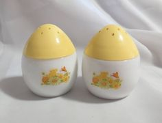 Vintage Avon Sachet Eggs Salt and Pepper Shakers Yellow and