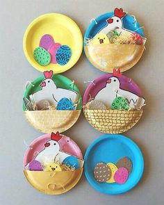 How three paper plates become an Easter basket .- Wie aus drei Papptellern ein Osternest wird… … or where is the chick hiding? I like working with paper plates and this time they play the main role in the Easter … - Easter Activities, Spring Activities, Preschool Crafts, Animal Crafts For Kids, Easter Crafts For Kids, Diy For Kids, Children Crafts, Diy Spring, Spring Crafts