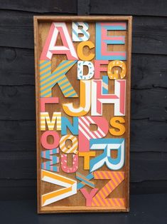 Items similar to RESERVED Large Original Alphabet Wooden Letter Wall Art. Playroom, on Etsy Wooden Alphabet, Alphabet Art, Wooden Letters, Seaside Art, Beach Art, Driftwood Frame, Letter Wall Art, Paint Storage, Graffiti Styles