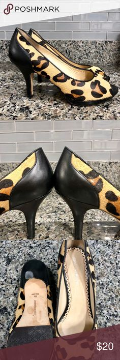 Johnston & Murphy Jaguar Print Heels Natural jaguar print calf hair with non slip sole. Leather pump in well cushioned footbed. Heel: 3.5 inches Johnston & Murphy Shoes Heels