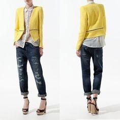 36db48757714 New Womens European Fashion Texture Woven Standup Collar Blazer Coat Yellow  B403
