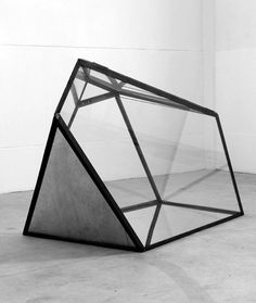 Glass and metal geometric sculpture
