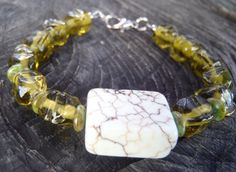 B044 White Turquoise and Olive Glass Beaded by OneLastThing, $18.00