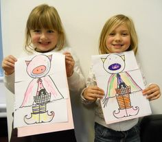 """Isobel & Emma show off their mixed-up fairytale characters they invented at Lytham Library Twisted Tales Workshop. Meet """"Piggy-Red-Riding-Witchy-Feet"""""""