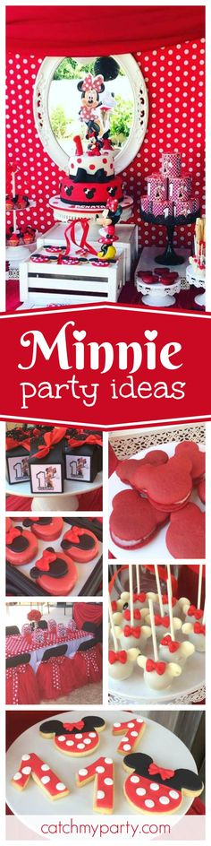 You are going to love this adorable Minnie Birthday Party! The little Minnie cake pops are so sweet!! See more party ideas and share yours at CatchMyParty.com