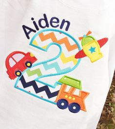 ***** Make Sure You are selecting the L/S if you are wanting this on LONG SLEEVES*****    Appliqued Age in Rainbow Chevron, with train below, airplane
