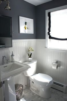 Plank Panel-  navy bathroom with beadboard - Google Search