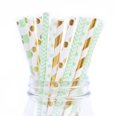 Mint and Gold Paper Straw Multipack Mint and Metallic gold straws for mint green baby shower!