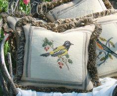 Oriole-oriole, bird, needlepoint, pillow, needlepoint pillow. vintage needlepoint, one of a kind pillow, home decor, bird pillow, handcrafte...