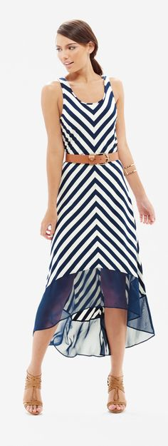 Chevron Hi-Low Maxi Dress - A delicate georgette hem puts a touch of glamour into this vacation-ready maxi! Soft jersey knit delightfully wears with all-day comfort.